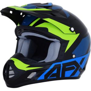 Casca AFX FX-17 Aced Black/Blue/Fluorescent Green
