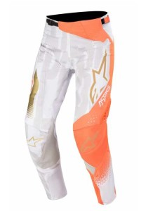 Pantaloni ALPINESTARS Techstar Factory METAL White/Orange Fluo/Gold