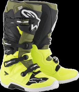 Cizme Alpinestar Tech 7 Yellow Fluo Military Green Black