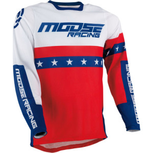 Tricou Moose Racing Sahara Blue/Red/White
