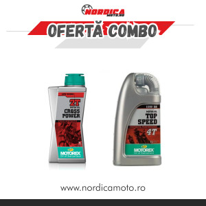 Pachet ulei Motorex 2T Cross Power 1L + ulei Motorex Top Speed 15w50