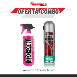 Pachet solutie curatat motocicleta MUC-OFF 1l + spray lant offroad Motorex 500ml