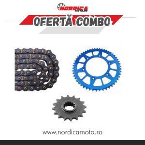 Kit Lant KTM/Husqvarna CZ 520 ORM O-Ring 116 zale + Pinion fata Enduro Expert +  Pinion spate  Enduro Expert RACING BLUE Aluminiu