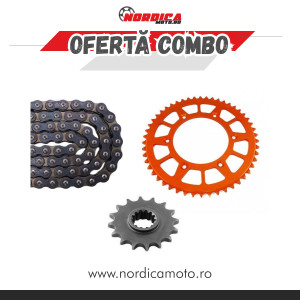 Kit Lant KTM/Husqvarna CZ 520 ORM O-Ring 116 zale + Pinion fata Enduro Expert +  Pinion spate  Enduro Expert RACING Orange Aluminiu
