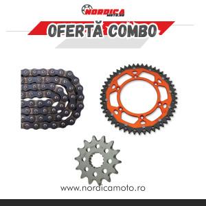 Pachet Lant transmisie CZ 520 ORM O-Ring 116 zale + Pinion fata KTM Moto Master + Pinion dual KTM Moose Racing PORTOCALIU