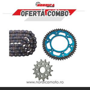 Pachet Lant transmisie CZ 520 ORM O-Ring 116 zale + Pinion fata KTM Moto Master + Pinion dual KTM Moose Racing ALBASTRU