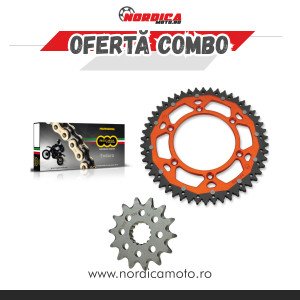 Pachet Lant REGINA Z-Ring 118 zale + Pinion fata KTM Moto Master + Pinion dual KTM Moose Racing PORTOCALIU