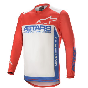 Tricou Alpinestars Racer Supermatic Bright Red/Blue off White